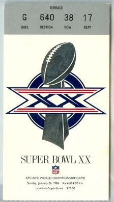Super Bowl XX         Ticket