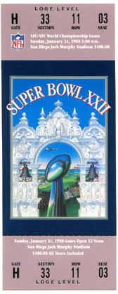 Super Bowl XXII       Ticket
