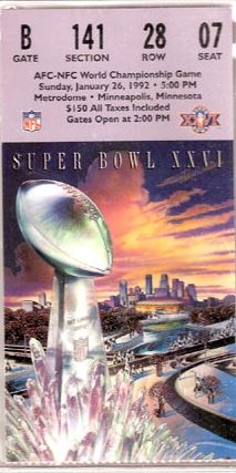 Super Bowl XXVI       Ticket
