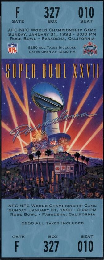 Super Bowl XXVII      Ticket