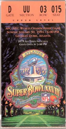 Super Bowl XXVIII     Ticket