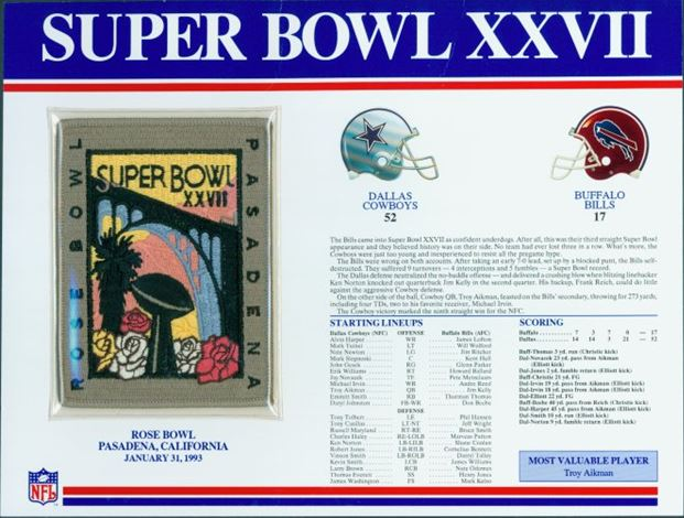 Super Bowl XXVII      Patch