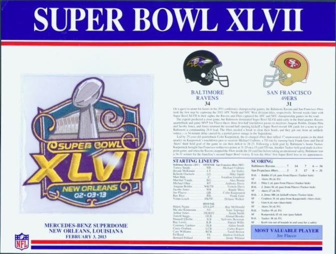 Super Bowl XLVII      Patch